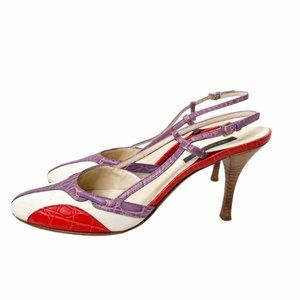 Sergio Rossi leather and canvas slingback heels